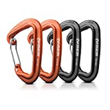 Domum 4pcs 24kN Super Strong Carabiner Clips with Stainless Wire Gate Hold 5000lbs, Hot Forged Construction, Super Light and Rust Free, Quickdraws and Easy Opening, 2pcs Black and 2pcs Orange