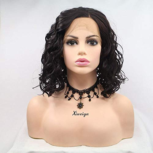 Xiweiya Side Part Wigs Short Curly Hair Synthetic Lace Front Wigs Dark Brown Color Bob Heat Resistant Fiber Cosplay Wigs Halloween Makeup Hairstyle -