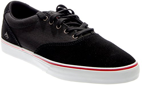 Emerica Provost Slim Vulc Skate Shoe,Black Denim,6.5 D US
