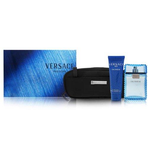 Versace Man Eau Fraiche by Versace for Men 3 Piece Set Includes: 3.4 oz Eau de Toilette Spray + Perfumed Bath & Shower Gel +Toilettry Bag Euro Italia