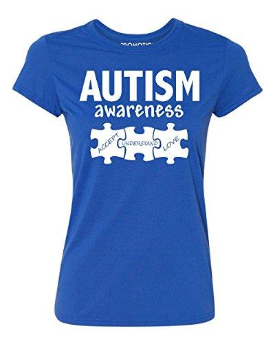 (Autism Awareness Support Jigsaw Puzzle Women's T-Shirt, M,)