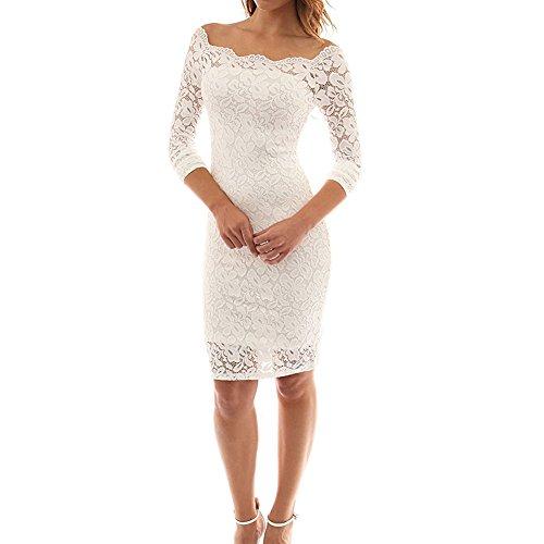de Vestidos Encaje Mini Bodas Falda Fiesta Cóctel Juleya Slim Dress Floral Blanco para Elegante Mujeres Fiesta Vestido 5Eq6x6U