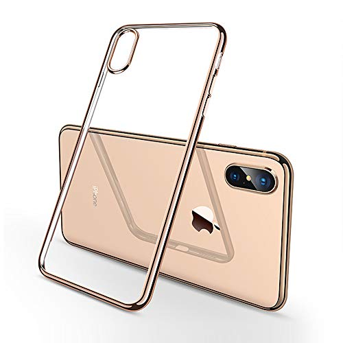 Malavei iPhone Xs MAX Case, [2-Pack] Cases for iPhone XsMax TPU Plating Golden Frame are Slim Hard with Protect The Phone 360 Degrees- Golden Frame