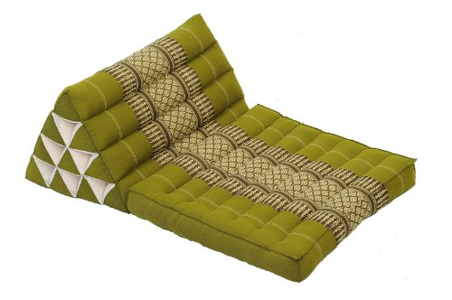 Thai Cushion Set: 4 pieces, Traditional Thai Design, 100% Kapok Filling, Bamboogreen by Handelsturm