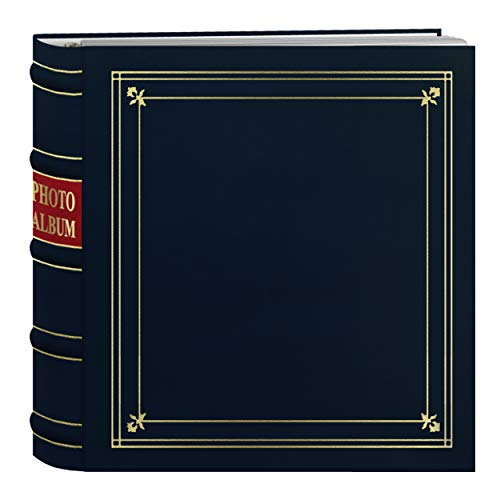 Pioneer Photo Albums 200-Pocket Ring Bound Navy Blue Bonded Leather with Gold Accents Cover Photo Album for 4 x 6-Inch Prints