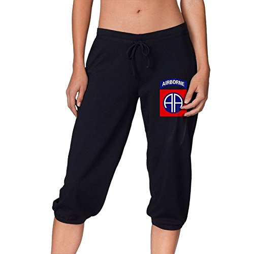 82nd Airborne Jump Wings Men Womens Fashion Casual Capri Pants Shorts Cropped Trousers Lounge Sports ()