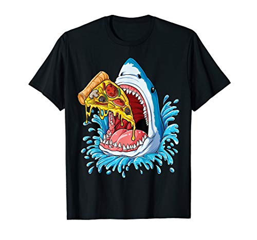 Shark Eating Pizza T shirt Kids Boys Food Lovers Jawsome Tee ()