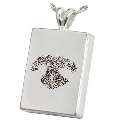 Perfect Rectangle Pendant With Actual Pet's Prints (Sterling Silver - Chamber, Ash-Holding, Noseprint + Back Text Engraving) by Memorial Gallery Pets