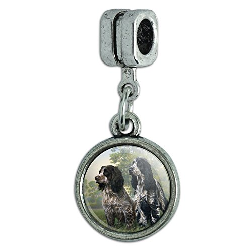 GRAPHICS & MORE Pair of English Cocker Spaniel Dogs Italian European Style Bracelet Charm Bead ()