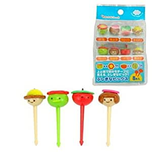 Plastic Face Shape Food Fruit Bento Box Picks 8Pcs