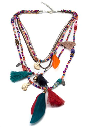 (Boho Handmade Colorful Beads Necklace with Tassels, Feathers and Chains by)