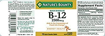 Natures Bounty Vitamin B-12, Quick Dissolve, 2500 mcg, Natural Cherry Flavor 75 ct (3 Pack)