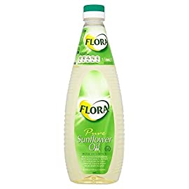 Flora Pure Sunflower Oil 1L 1 Sunflower oil with added vitamin E. Rich in polyunsaturated fatty acids which, as part of a healthy diet and lifestyle, can help keep your heart healthy. A