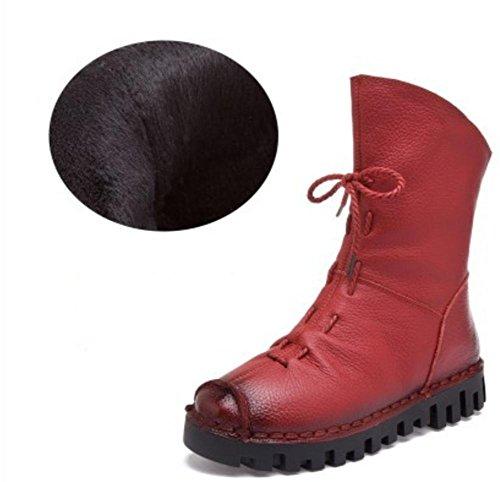 Antiscivolo a genuino cadere inverno piatto nero red Donna fatto Velvet mano Cuoio rotonda lavoro stivali rosso partito Testa SwqcOF