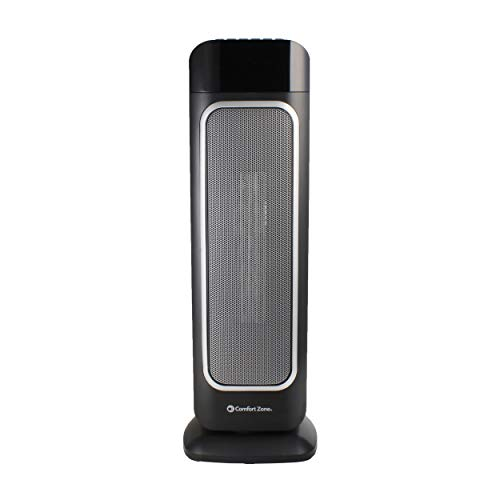 "Comfort Zone 23"" Ceramic Tower Heater, Digital, Black"