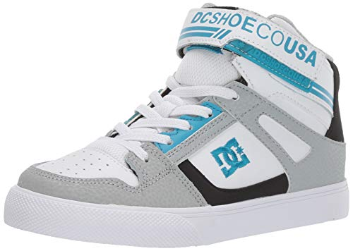DC Boys' Pure HIGH-TOP EV Skate Shoe, Grey/Black/Blue, 2 M M US Big Kid