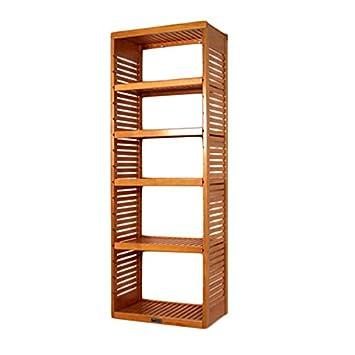 16 Inch Shelf Depth Adjustable Shelves Standalone Closet Tower, Honey Maple
