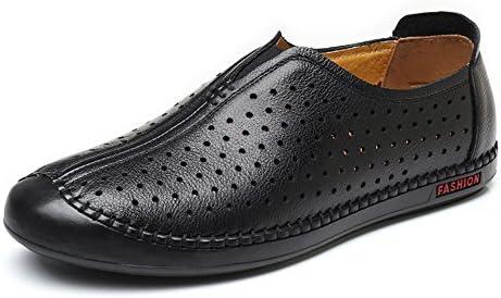 通気性ミシン目の丸いつま先スリップオンフラットソールローファークラシックメンズ本革の靴 快適な男性のために設計