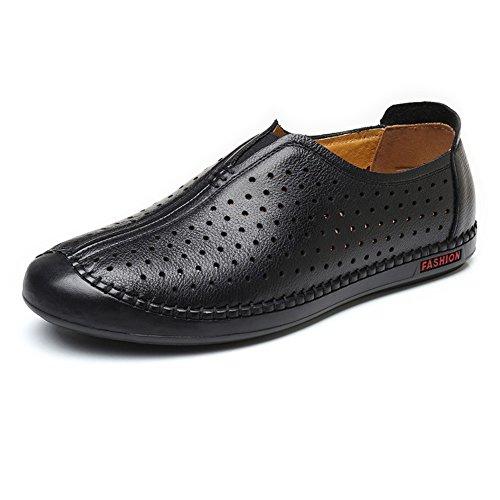 cuero Zapatos Color Marrón Perforación de Loafer hombres 44 EU piso Mocasines Slip Comfort clásicos Transpirable genuino para Redondo 2018 único de tamaño Puntera Zapatos los Negro hombre on 5YgwOq