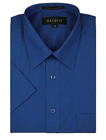 Marquis Men's Short Sleeve Solid Dress shirt - All Sizes - Colors (2XL (18.5), Royal) - Blue Color Cotton