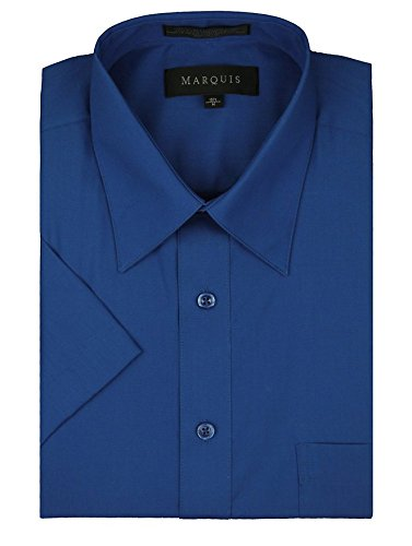 marquis-mens-short-sleeve-solid-dress-shirt-all-sizes-colors-xl-175-royal