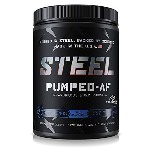 Steel Supplements Pumped-AF Pre Workout Powder Energy Drink High Intensity 30 Servings (Blue Raspberry)