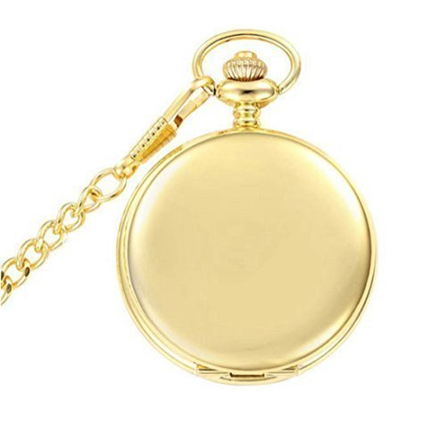 WZC Fashion Smooth Golden Quartz Pocket Watches with Chain (Gold) by WZC