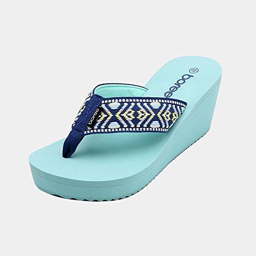 Zapatillas para mujer Verano exterior desgaste aumentar sandalias Grueso inferior playa pendiente Sandalias de tacón bajo ( Color : 7 , Tamaño : EU36/UK3/CN35 ) 5