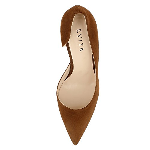 Evita Shoes Jessica Damen Pumps halboffen Rauleder Braun - liv-stuck ... 1f3a3b79db