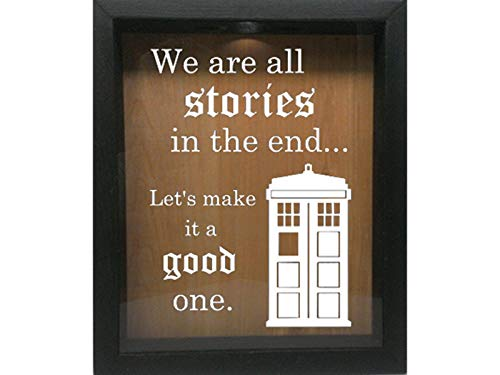 Wooden Shadow Box Wine Cork/Bottle Cap/Tickets 9x11 - We are All Stories Let's Make It A Good One (Ebony w/White)