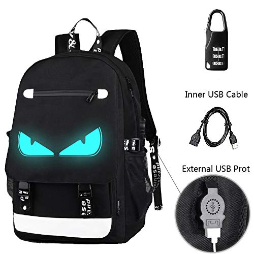 Anime Backpack Luminous Backpack Boys School Backpack Noctilucent School Bags Boys Bookbags for High School USB Chargeing port&anti-theft Daybag (School...