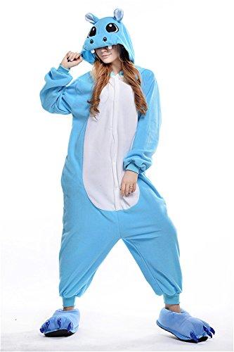 [Xqmdress Adult Unisex Animal Pajamas Cosplay Lounge Wear Costume Cartoon Onesie] (Hippo Mascot Costume)