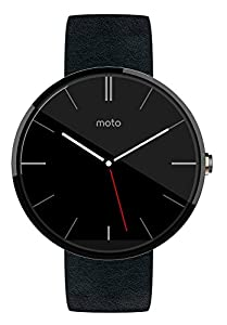 Motorola Moto 360 - Black Leather Smart Watch