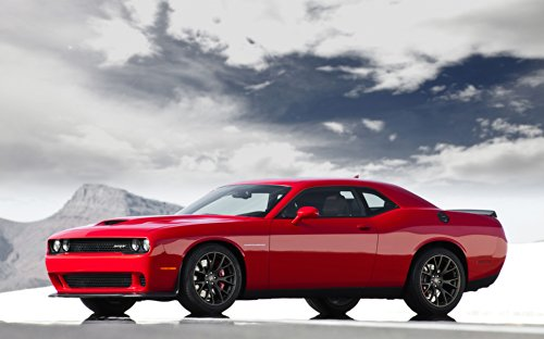 Dodge Challenger SRT Supercharged with HEMI Hellcat Engine (2015) Car Art Poster Print on 10 mil Archival Satin Paper Red Front Side Static View 20