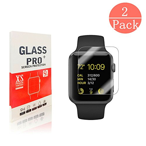 Apple Watch 38mm Screen Protector, davidavi[High Definition][Anti-scratch][9H Tempered Glass]Only Covers the Flat Area for Apple Watch 38mm[2 Pack]