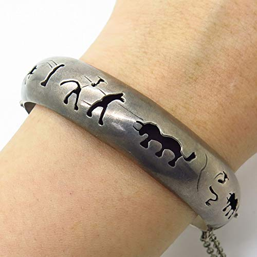 VTG Mexico Signed 925 Sterling Silver Cut Out Bull Vs. Man Bangle Bracelet 7