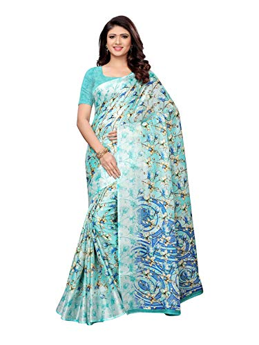 (KANCHNAR Women's Printed Cotton Silk Saree with Unstitched Blouse(1009S1012;Blue;Kota Doria))