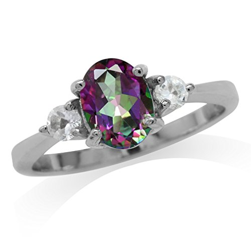 Silvershake 1.35ct. Mystic Fire Topaz White Gold Plated 925 Sterling Silver Engagement Ring Size 7 ()