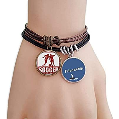 YMNW Red Football Player Grab Football Friendship Bracelet Leather Rope Wristband Couple Set Estimated Price -