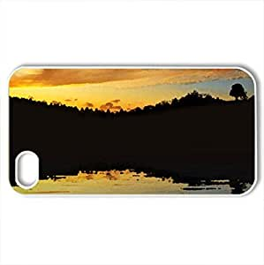 Beautiful Evening - Case Cover for iPhone 4 and 4s (Lakes Series, Watercolor style, White)