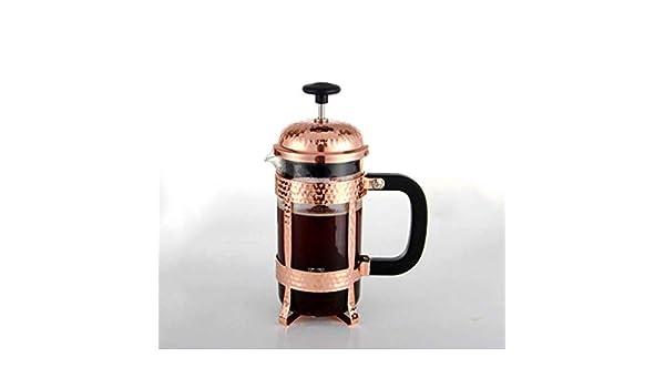 QILA Francés cafetera Recta, el émbolo Filtro de Acero Inoxidable con Jarra de Cristal, máquina de café Manual con Acabado de Cobre, un pequeño Grupo de café: Amazon.es: Hogar