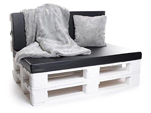 Palettenkissen, Gartenmöbel Auflagen, Sitzbankauflage, Matratzenauflagen auch m. Rückenlehne bzw. Dekokissen in Kunstleder schwarz, wasserabweisend und strapazierfähig