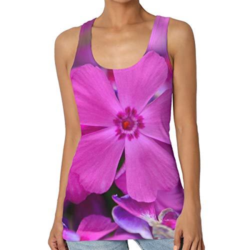 (MAYAL Women's Purple Serenity Flower Training Muscle Tank Top Tee)