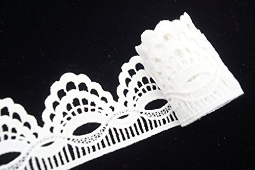 Vintage Wave White Lace Trim for Wedding Party, Home Decor and Cloth Design with 2-1/2'' by 5 Yard by Cozy