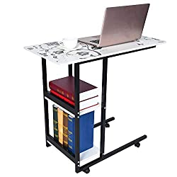 Adagod Adjustable Vented Laptop Table With Wheel Laptop Computer Desk Portable Bed Tray Book
