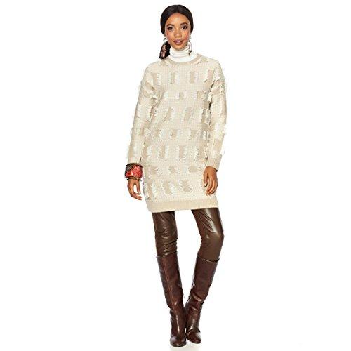 Stitch Iris (Rara Avis Iris Apfel Multi-Stitch Fringe Sweater Knit Dress Cream M New 561-281)
