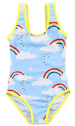 Arielno Girls One Piece Rainbow Unicorn Swimsuit Cherry Ice Cream Bathing Suits (8-9 Years, Blue Rainbow)