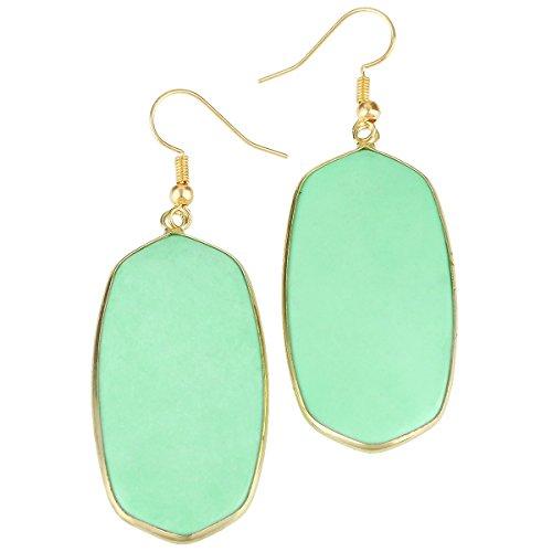 rockcloud Green Howlite Turquoise Stone Dangle Hook Earrings Oval Gold Plated