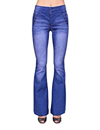 Celebrity Pink Jeans Women Flare High Rise Sailor Jeans with Front Button