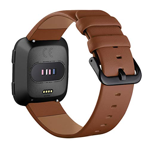 Surace Compatible for Fitbit Versa Bands,Versa Lite Leather Band Replacement for Fitbit Versa Band for Women Smart Watch Versa Bands for Men, Brown